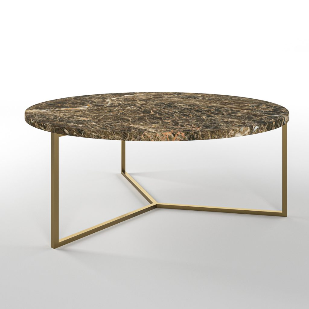 Simple3 Brown Marble Coffee Table