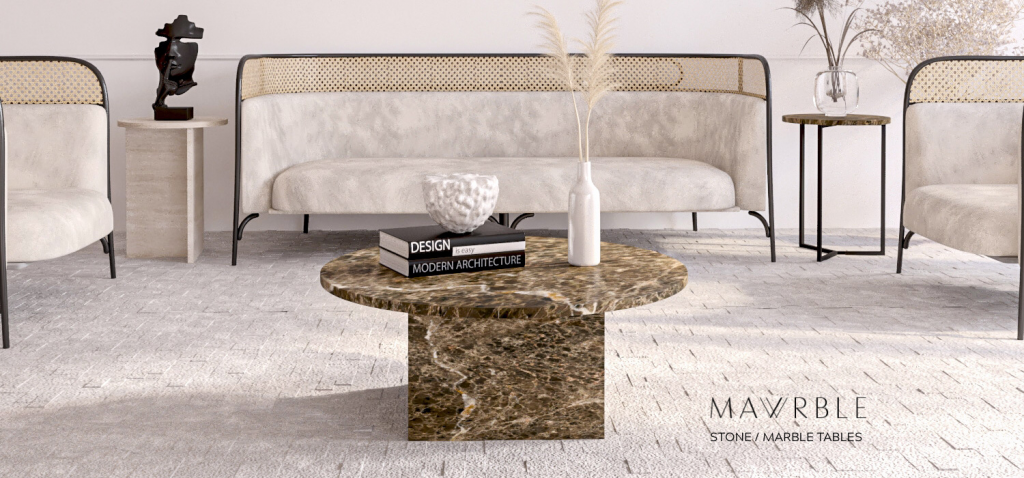 Emperador Brown Marble Stony-travertine side table Simple3 side table