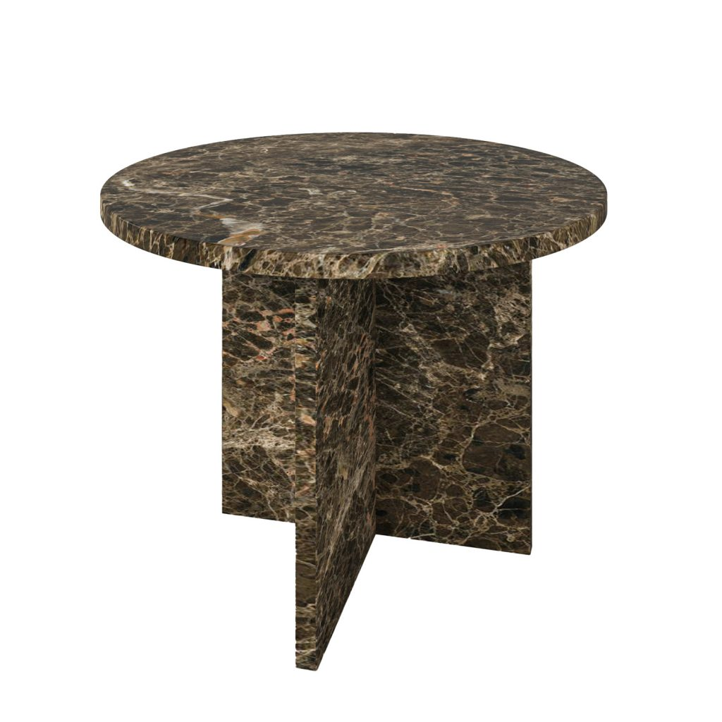 T-stone_Coffee_Table_D50H40_Emperador_brown_marble