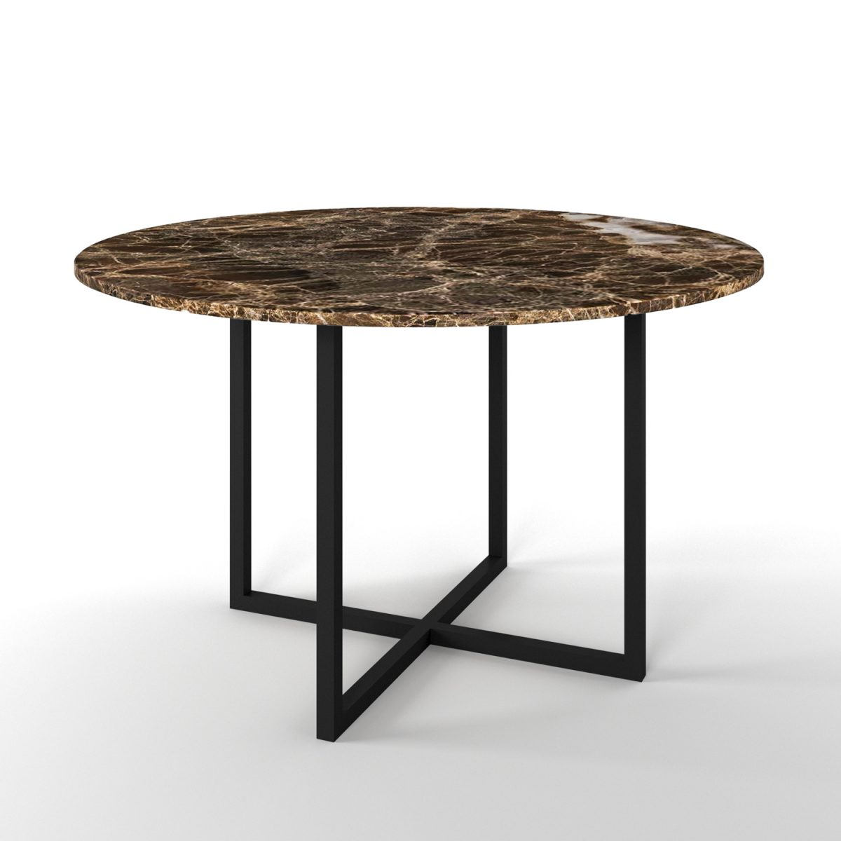 Simple 4 Dining table Brown Marble black